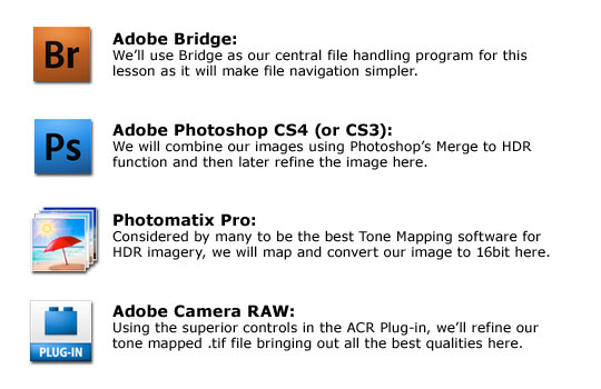 We'll be using Adobe Photoshop, Adobe Bridge, Adobe Camera RAW and Photomatix Pro in this HDR Photoshop Tutorial