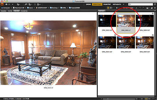 Locate the .TIFF HDR image in Adobe Bridge
