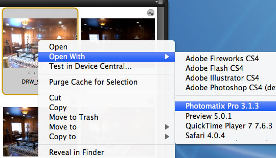From Bridge open the file in Photomatix Pro for HDR Processing