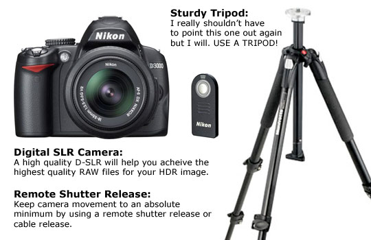 Use a Digital SLR Camera, Tripod and Remote Shutter Release