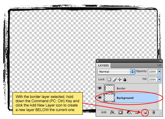 Create a new layer below the photo border