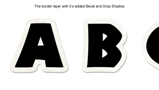The Border layer with it's bevel and drop shadow