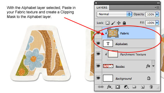 Add a fabric texture to the Alphabet layer